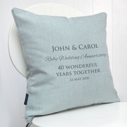 Personalised Ruby Wedding Anniversary Cushion